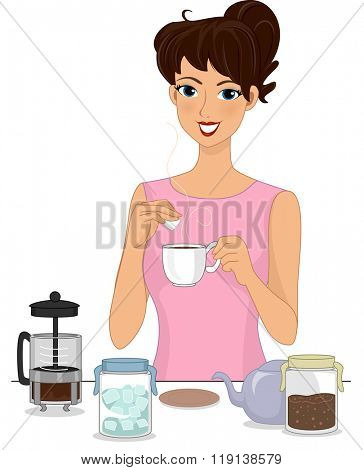 Illustration of a Girl Preparing Brewed Coffee