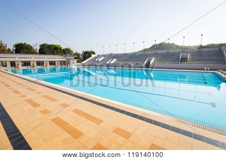 CHIANG RAI, THAILAND - MARCH 2 : empty swimming pool in sunny day wide shot horizontal