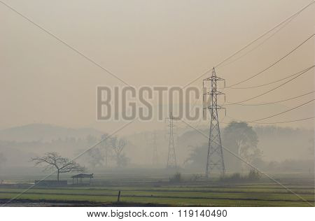 High Voltage Electric Poles Set In The Rice Field, Thailand