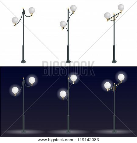 Street lantern. Streetlight. 3D flat vector isometric illustration.