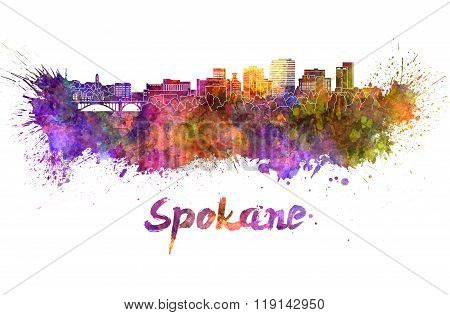 Spokane Skyline In Watercolor