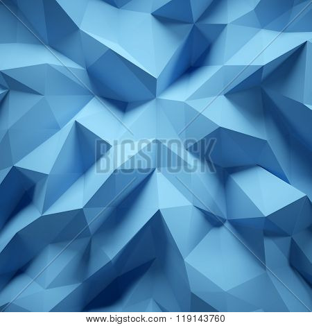 Photo of highly detailed multicolor polygon. Blue geometric rumpled triangular low poly style. Abstract gradient graphic background. Square. 3D rendering