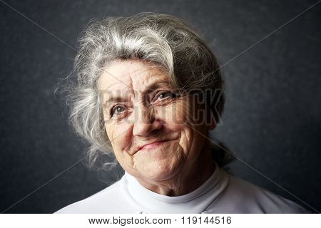 Happy old granny face