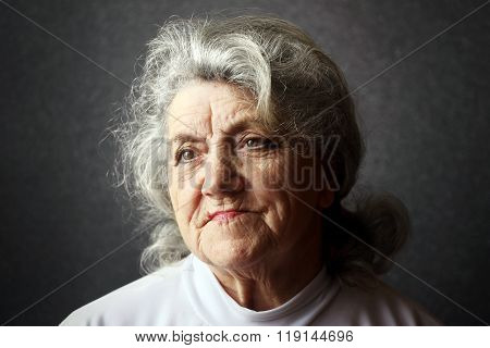 Thoughtful granny face
