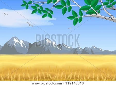 Landscape - Wheat Field, Mountains On The Horizon [