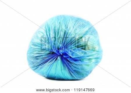 Blue rubbish bag isolated on white
