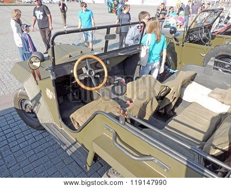 Passenger Saloon Of Soviet Military All-wheel-drive Vehicle Of Ww2 Gaz-67