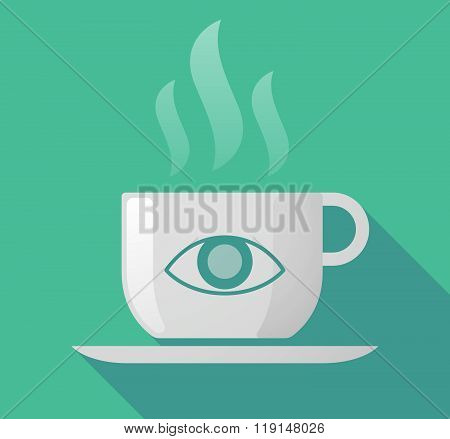 Long Shadow Cup Of Coffee With  An Eye
