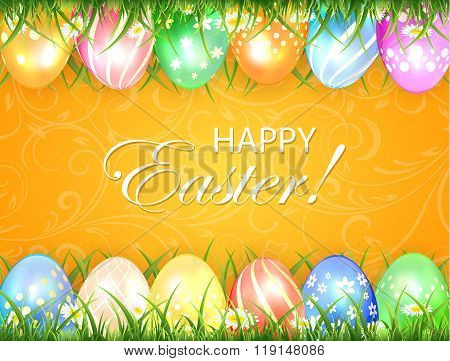 Orange Easter Background With Eggs In Grass