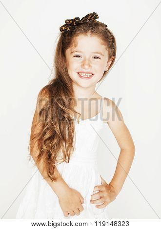 little cute spring girl in fancy dress isolated on white background