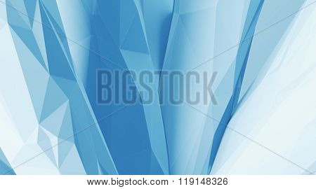 Photo of highly detailed ice blue color polygon. Abstract architecture background.  Internal space o