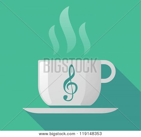 Long Shadow Cup Of Coffee With  A G Clef
