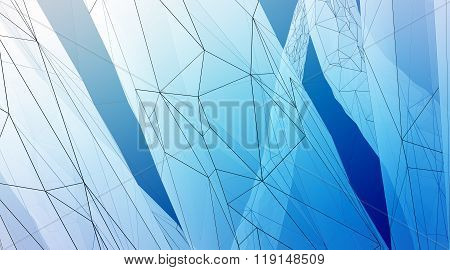Concept of highly detailed blue line background. Art background, horizontal. 3d render