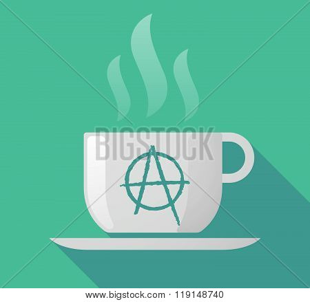 Long Shadow Cup Of Coffee With  An Anarchy Sign