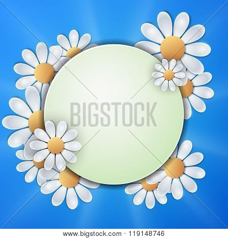 Floral invitation design with paper daisy flowers.
