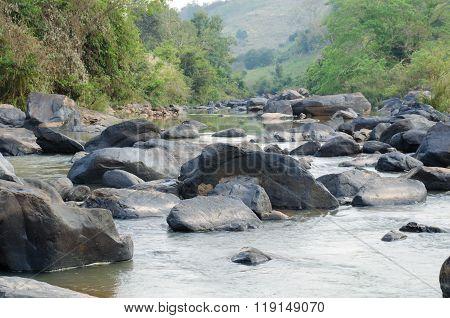 Streamlet In Rainforest ,thailand