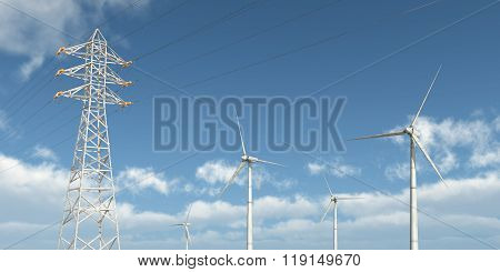 Wind turbines and overhead power line