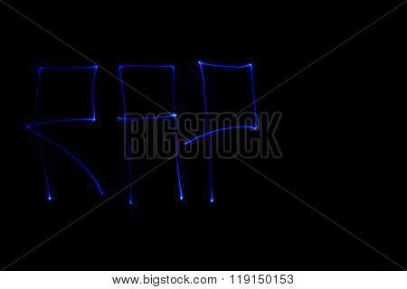 Blue inscription