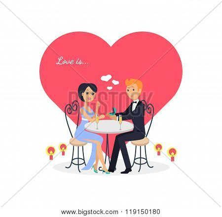 Happy Valentine Day Couple Sitting at Table