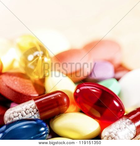 Abstract medical backgrounds with colorful pills for your design