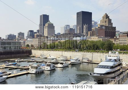 View Of Downtown Montreal Showing The Port On The St. Lawrence River