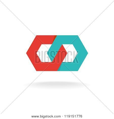 Two Hexagonal Chain Links Logo. Tech Connection Concept.