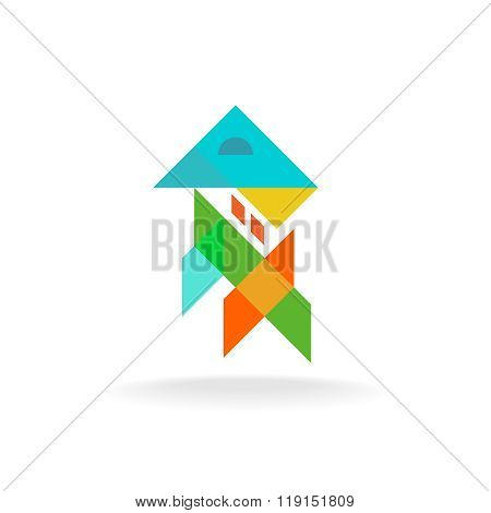 Abstract Colorful Shapes House Appartment Exterior And Interior Design Logo. Transparency Are Flatte