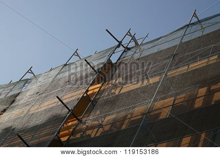 Scaffolding At Construction Site