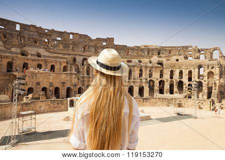 Woman In Tunisia El Jem Roman Apmphitheatre