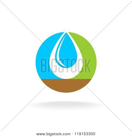 Letter O With Liquid Water Drop Logo. Sky, Nature And Soil Colors. Overlay Style.