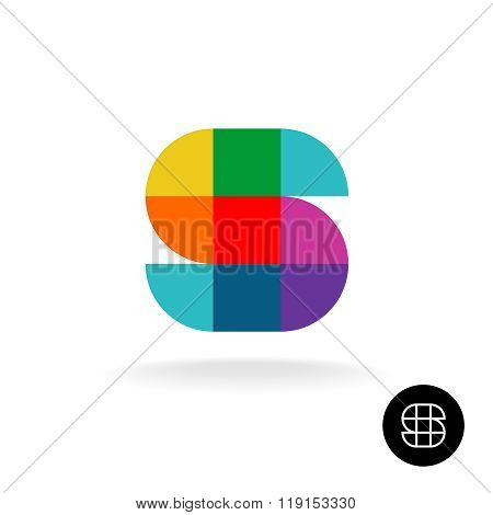Letter S Colorful Rainbow Square And Sector Particles Style Logo