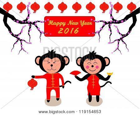 Chinese New Year Design Cute Monkeys