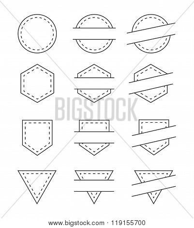 Set of Blank Vintage Frames for Logo - Isolated Vector Illustration