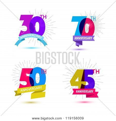 Vector set of anniversary numbers design. 30, 70, 50, 45 icons, compositions with ribbons.