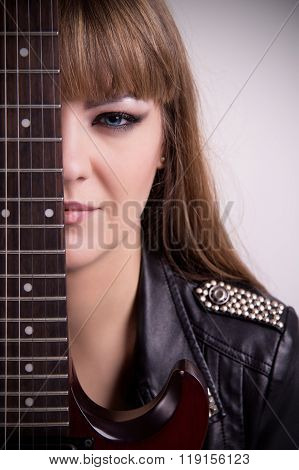 Portrait Of Girl With Electric Guitar