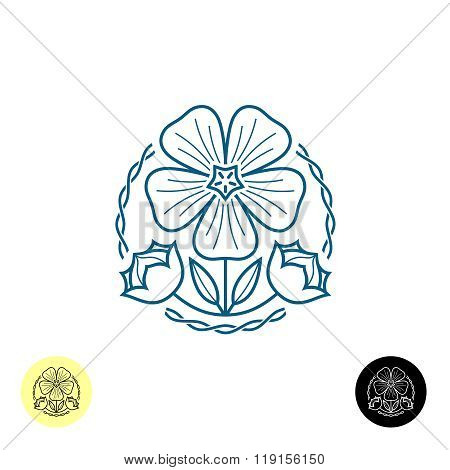 Linen Logo. Outline Style Illustration Of A Linen Flower, Seed Boxes, Leaves And Weave Lines Around.