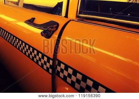 Yellow Cab Taxi, Door of Taxi with Checker