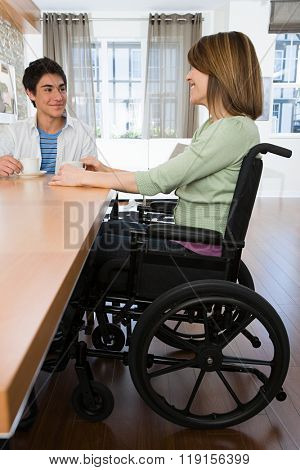 Disabled mother with son