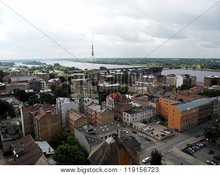 Landscape Of The River And Tv Tower In Riga.