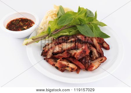 Charcoal boiled pork neck, Grilled Pork Neck, Roasted pork with Thai Spicy on white Background.