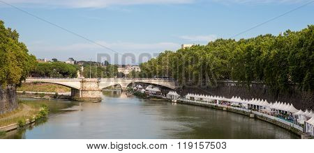 Panoramic View Of Tiber River In Rome Italy