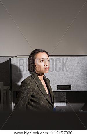 Businesswoman stood in office