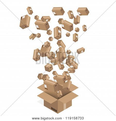 Vector modern cardboard boxes set. Delivery