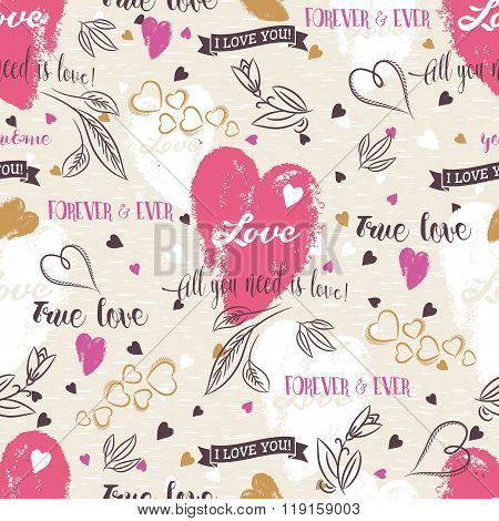 Background With  Red Valentine Heart , Flower, Wishes Text,  Vector