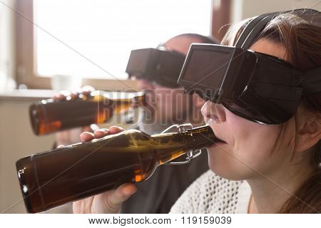Couple With Vr Glasses And Beer
