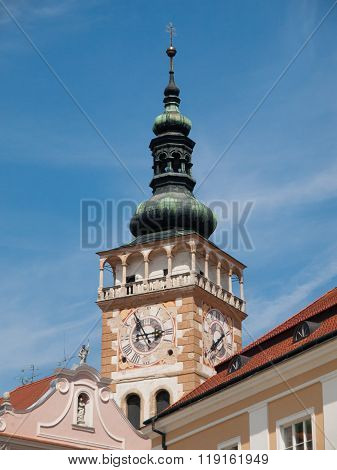 Colorful tower in Mikulov town centre