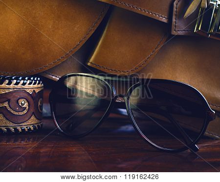 Fashionable Accessories. Bag, Sunglasses And Decorations