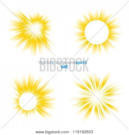 Yellow and white vector backgrounds with sun burst effect