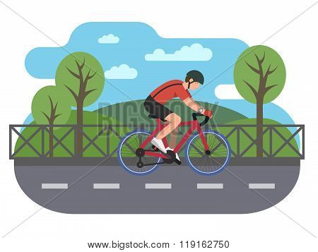Cyclist on bike path
