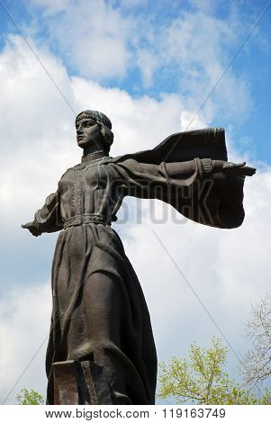 Kiev, Ukraine: May, 2014 - Legendary Princess Lybed, monument to the founders of Kiev and dramatic skyline, Ukraine